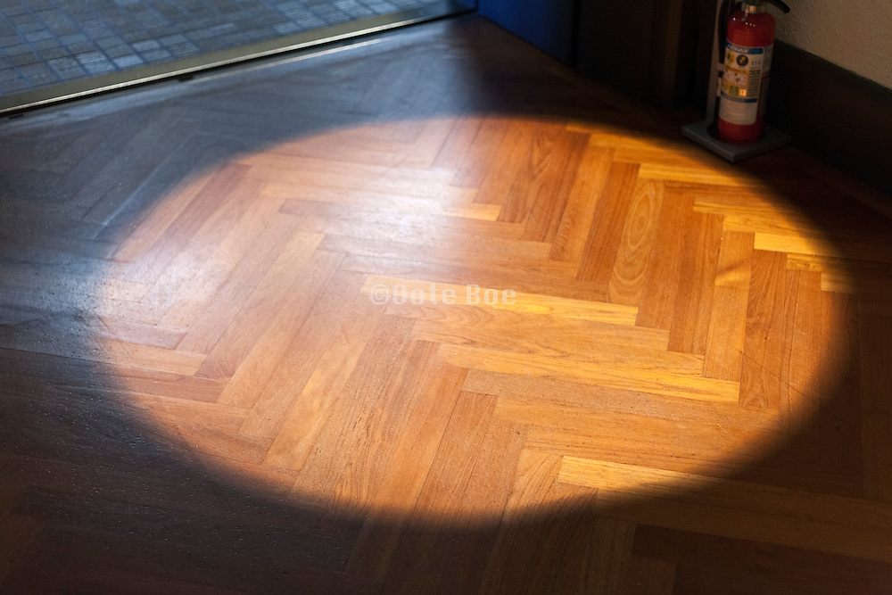 door opening and parquet floor with spotlight