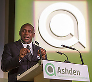 The key note speaker, Kandeh Yumkella, CEO of Sustainable Energy for All speaking at the 2015 Ashden Awards ceremony held at the Royal Geographical Society, London. UK.