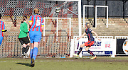 Emma Follis opening the score on her debut for Reading during the FA Women's Cup match between Crystal Palace LFC and Reading Women at Bromley, England on 8 February 2015. Photo by Michael Hulf.