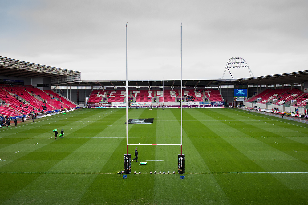A general view of Parc Y Scarlets, home of Scarlets<br /> <br /> Photographer Simon King/Replay Images<br /> <br /> Guinness PRO14 Round 19 - Scarlets v Glasgow Warriors - Saturday 7th April 2018 - Parc Y Scarlets - Llanelli<br /> <br /> World Copyright © Replay Images . All rights reserved. info@replayimages.co.uk - http://replayimages.co.uk