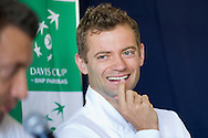 Mariusz Fyrstenberg of Poland while press conference three days before the BNP Paribas Davis Cup 2014 between Poland and Croatia at Torwar Hall in Warsaw on April 1, 2014.<br /> <br /> Poland, Warsaw, April 1, 2014<br /> <br /> Picture also available in RAW (NEF) or TIFF format on special request.<br /> <br /> For editorial use only. Any commercial or promotional use requires permission.<br /> <br /> Mandatory credit:<br /> Photo by © Adam Nurkiewicz / Mediasport
