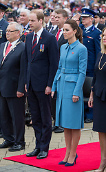 BLENHEIM- NZ- 10-APR-2014: The Duke and Duchess of Cambridge in Blenheim New Zealand on their Official Tour. Prince William and Kate attend a wreath laying ceremony and walkabout in the town centre.<br /> Photograph by Ian Jones