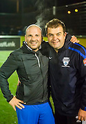 Celebrity chef George Calombaris has lost 22ks after an urgent health regimen<br /> Which included eating better, running and playing local soccer with his old mates. Pictured here with Greig Davie<br /> Photo By Craig Sillitoe