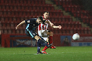Jordan Rossiter and Jordan Tilson   during the EFL Sky Bet League 2 match between Cheltenham Town and Bury at LCI Rail Stadium, Cheltenham, England on 5 March 2019.