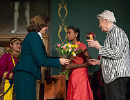The World&rsquo;s Children&rsquo;s Prize Ceremony 2017 at Gripsholms Castle in Mariefred, Sweden. Ananthi Ramlingam from India receiving flowers from H. M. Queen Silvia. Rosi Gollmann from Germany, recipient of the World&rsquo;s Children&rsquo;s Honorary Award 2017.&nbsp;<br />