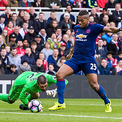 Viktor Valdes - Middlesborough Goalkeeper fumbles to gift a goal to Manchester United as Antonio Valencia of Manchester United steals the points.Middlesborough v Manchester United, Barclays English Premier League, 19th March 2017. (c) Paul Cram | SportPix