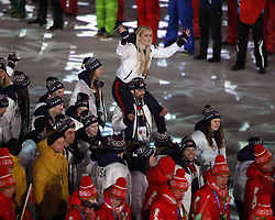 February 25, 2018 - Pyeongchang, KOREA - Lindsey Vonn from the United States and others during the closing ceremony for the Pyeongchang 2018 Olympic Winter Games at Pyeongchang Olympic Stadium. (Credit Image: © David McIntyre via ZUMA Wire)