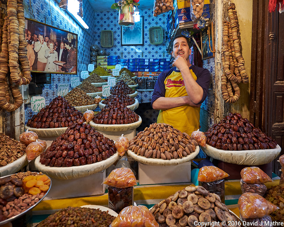 Date Shop in the Medina of Fez. Image taken with a Fuji X-T1 camera and Zeiss 12 mm f/2.8 lens (ISO 200, 12 mm, f/2.8, 1/30 sec).