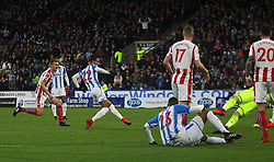 Thomas Ince of Huddersfield Town (C) scores his sides first goal - Mandatory by-line: Jack Phillips/JMP - 26/12/2017 - FOOTBALL - The John Smith's Stadium - Huddersfield, England - Huddersfield Town v Stoke City - English Premier League