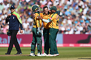 Tom Moores, Samit Patel and Steve Mullaney of Notts Outlaws celebrate the wicket of Riki Wessels during the Vitality T20 Finals Day 2019 match between Notts Outlaws and Worcestershire Rapids at Edgbaston, Birmingham, United Kingdom on 21 September 2019.