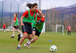 ZENICA, BOSNIA AND HERZEGOVINA - Monday, November 27, 2017: Wales' Amina Vine during a training session ahead of the FIFA Women's World Cup 2019 Qualifying Round Group 1 match against Bosnia and Herzegovina at the FF BH Football Training Centre. (Pic by David Rawcliffe/Propaganda)