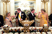 Staatsbezoek aan Luxemburg dag 1 / State visit to Luxembourg day 1<br /> <br /> Op de foto / On the photo: Staatsbanket in het  Palais Grand-Ducal Koning Willem Alexander en koningin Maxima met Groothertog Henri en Groothertogin Maria Teresa / State banquet at the Palais Grand-Ducal with King Willem Alexander and Queen Maxima with Grand Duke Henri and Grand Duchess Maria Teresa