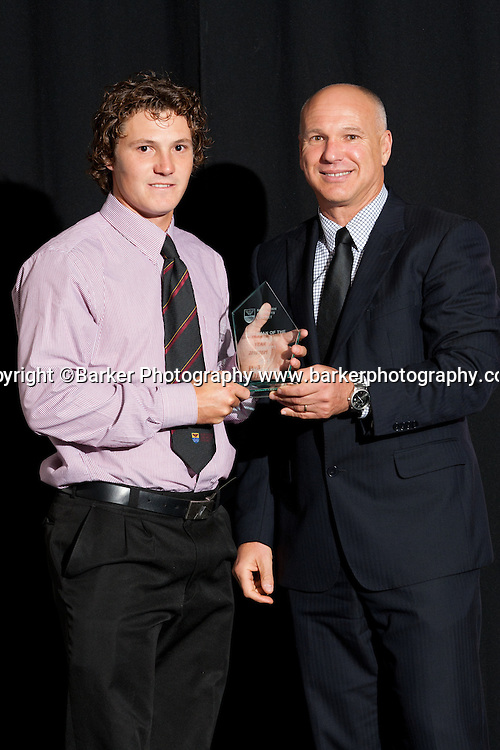 Northern Districts Cricket Awards, Batsman of the Year BJ Watling presented with award by ex NZ and ND player David White, Tainui Novotel Hotel, Friday 8 April 2011, Hamilton, New Zealand.  Photo: Stephen Barker/Barker Photography/PHOTOSPORT  ©Barker Photography www.barkerphotography.co.nz