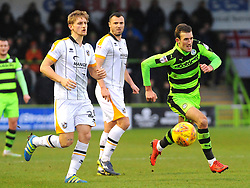 Christian Doidge of Forest Green Rovers gets past Nathan Smith of Port Vale- 06/01/2018 - FOOTBALL - New Lawn Stadium- Nailsworth, England- Forest Green Rovers v Port Vale - Sky Bet League Two