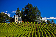 late summer front view of Villa Valentine at Terra Valentine Winery. Saint Helena, California. Napa Valley
