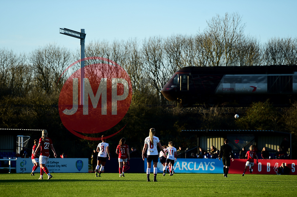 A train passes the match at Stoke Gifford as Bristol City Women face Liverpool FC Women - Mandatory by-line: Ryan Hiscott/JMP - 19/01/2020 - FOOTBALL - Stoke Gifford Stadium - Bristol, England - Bristol City Women v Liverpool Women - Barclays FA Women's Super League