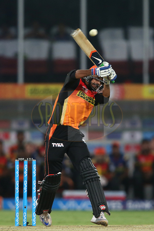 Deepak Hooda of Sunrisers Hyderabad pulls a short delivery during match 12 of the Vivo IPL 2016 (Indian Premier League) between the Sunrisers Hyderabad and the Mumbai Indians held at the Rajiv Gandhi Intl. Cricket Stadium, Hyderabad on the 18th April 2016<br /> <br /> Photo by Shaun Roy/ IPL/ SPORTZPICS