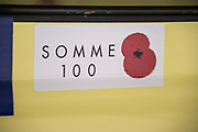 Henley on Thames. United Kingdom. Boating Area. Stickers mounted all competitors boats to the commemorate the opening the Battle of the Somme 100 years before    Friday, 2016 Henley Royal Regatta, Henley Reach.   <br /> <br /> Friday  01/07/2016<br /> <br /> © Peter SPURRIER<br /> <br /> NIKON CORPORATION  NIKON D4  f5.6  1/500sec  300mm  7.7MB