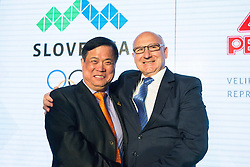 Mr. Su Jia, CEO of PEAK Sports and Bogdan Gabrovec okf OKS during official presentation of the Designer wear for Slovenian Athletes at Rio Summer Olympic Games 2016, on April 15, 2016 in Hotel Lev, Ljubljana, Slovenia. Photo by Vid Ponikvar / Sportida