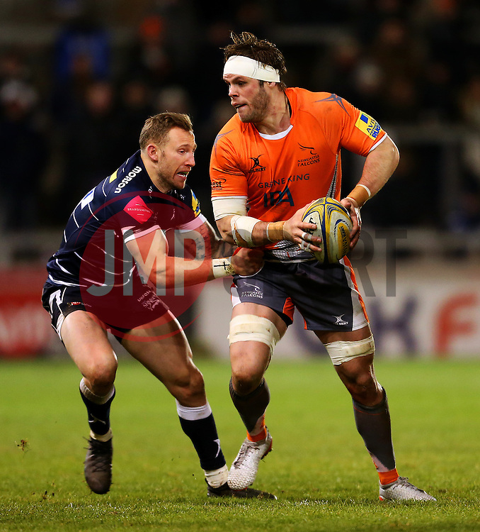 Will Welch (c) of Newcastle Falcons in action - Mandatory by-line: Matt McNulty/JMP - 10/02/2017 - RUGBY - AJ Bell Stadium - Sale, England - Sale Sharks v Newcastle Falcons - Aviva Premiership