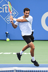 August 2, 2018 - Washington, D.C, U.S - NOAH RUBIN hits a backhand during his 2nd round match at the Citi Open at the Rock Creek Park Tennis Center in Washington, D.C. (Credit Image: © Kyle Gustafson via ZUMA Wire)