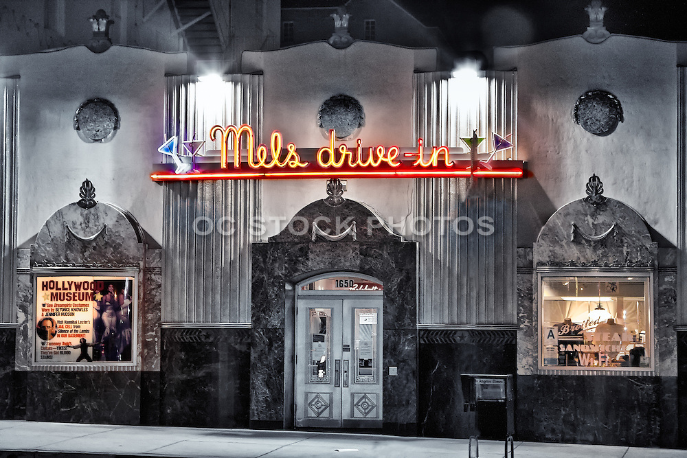 Mels Drive-in Diner Hollywood California Black and White