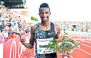 Selemon Barega (ETH) poses after winning the 3,000m in 7:32.17 during the 54th  Bislett Games in an IAAF Diamond League meet in Oslo, Norway, Thursday, June 13, 2019. (Jiro Mochizuki/Image of Sport)