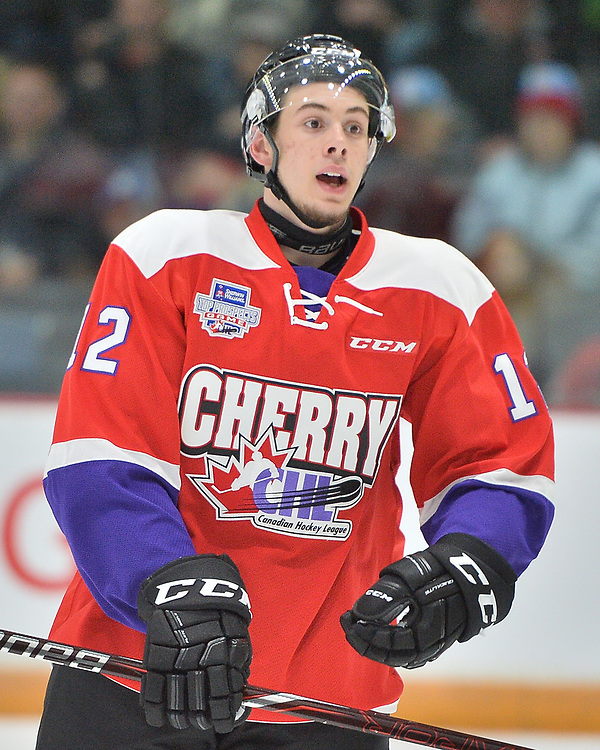 Giovanni Vallati of the Kitchener Rangers represents Team Cherry in the 2018 Sherwin-Williams CHL / NHL Top Prospects Game held in Guelph,ON on Thursday January 25. Photo by Terry Wilson / CHL Images.