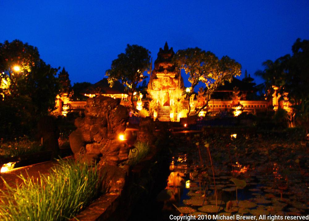 Wonderfully lit Ubud Palace at night in Bali, Indonesia.