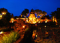 Wonderfully lit Ubud Palace at night in Bali, Indonesia.