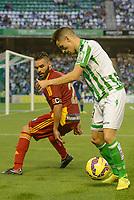 Corcoles (L) and Alex (R) during the match between Real Betis and Recreativo de Huelva day 10 of the spanish Adelante League 2014-2015 014-2015 played at the Benito Villamarin stadium of Seville. (PHOTO: CARLOS BOUZA / BOUZA PRESS / ALTER PHOTOS)