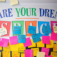 "A ""Share Your Dreams"" wall filled with sticky notes inside the Wonders on Wheels mobile museum, Tuesday June 25 in Gallup. The mobile museum's current exhibit is from the New Mexico Museum of Space History in Alamogordo and will be at the Aztec Library Thursday and the Farmington Library Friday."