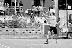 June 22, 2018 - L'Aquila, Italy - (EDITORS NOTE: Image has been converted to black and.white.) Paolo Lorenzi during match between Filippo Baldi (ITA) and Paolo Lorenzi (ITA) during day 7 at the Internazionali di Tennis Citt dell'Aquila (ATP Challenger L'Aquila) in L'Aquila, Italy, on June 22, 2018. (Credit Image: © Manuel Romano/NurPhoto via ZUMA Press)