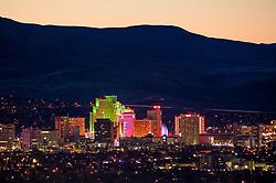 """""""Reno, Nevada 1"""" - Photograph of Reno, Nevada shot shortly after sunset."""