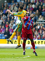 Photo. Chris Ratcliffe<br /> Crystal Palace v Norwich City. Barclays Premiership. 16/04/2005<br /> Youssef Safri of Norwich goes up with Mikele Leigertwood of Palace