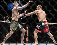 "MANCHESTER, ENGLAND, NOVEMBER 14, 2009: Alexander Gustafsson (left) and Jared Hamman are pictured during ""UFC 105: Couture vs. Vera"" inside the MEN Arena in Manchester, United Kingdom."