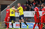 Oxford midfielder John Lundstram celebrates after scoring Oxford's second goal during the Sky Bet League 2 match between Leyton Orient and Oxford United at the Matchroom Stadium, London, England on 17 October 2015. Photo by Bennett Dean.