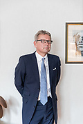 London, England, UK, October 2 2018 - Portrait of Jussi Pylkkännen, global president and main auctioneer of Christie's, at his office.