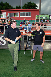 24 June 2015. New Orleans, Louisiana.<br /> National Premier Soccer League. NPSL. <br /> Jesters 0 - Atlanta Silverbacks 1.<br /> Head coaches Kenny Farrell of the New Orleans Jesters  and Alejandro Pombo of the Atlanta Silverbacks reserves greet each other before the game at home in the Pan American Stadium. <br /> Photo©; Charlie Varley/varleypix.com
