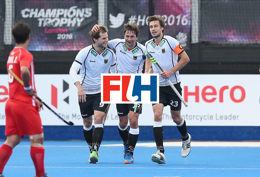 LONDON, ENGLAND - JUNE 16:  Oskar Deecke of Germany celebrates scoring their third goal during the FIH Mens Hero Hockey Champions Trophy match between Korea and Germany at Queen Elizabeth Olympic Park on June 16, 2016 in London, England.  (Photo by Alex Morton/Getty Images)