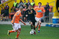 BLACKPOOL, ENGLAND - Wednesday, March 3, 2011: Liverpool's Thomas Ince in action against Blackpool during the FA Premiership Reserves League (Northern Division) match at Bloomfield Road. (Photo by David Rawcliffe/Propaganda)