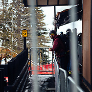 Skiers wait on line at the tram dock during a powder day at Jackson Hole Mountain Resort.