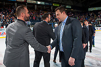 KELOWNA, CANADA - APRIL 30: Kelowna Rockets' head coach Jason Smith shakes hands with Seattle Thunderbirds' assistant coach Matt O'Dette on April 30, 2017 at Prospera Place in Kelowna, British Columbia, Canada.  (Photo by Marissa Baecker/Shoot the Breeze)  *** Local Caption ***
