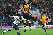 Hull City Midfielder Robert Snodgrass and Preston North End Defender Greg Cunningham battle  during the Sky Bet Championship match between Preston North End and Hull City at Deepdale, Preston, England on 28 December 2015. Photo by Pete Burns.