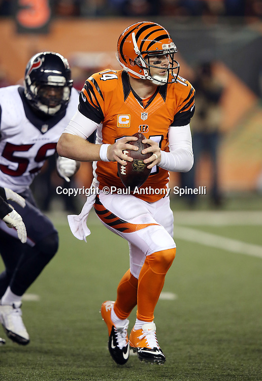 Cincinnati Bengals quarterback Andy Dalton (14) scrambles and throws a fourth quarter pass during the 2015 week 10 regular season NFL football game against the Houston Texans on Monday, Nov. 16, 2015 in Cincinnati. The Texans won the game 10-6. (©Paul Anthony Spinelli)