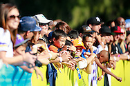 January 29 2016: Young fans hope to get an autograph at todays Pro Bowl practice at Turtle Bay Resort on Oahu, HI. (Photo by Aric Becker)