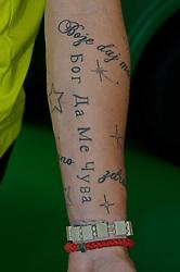 08.07.2010, Fähre, Norderney, GER, Trainingslager Werder Bremen 1. FBL 2010 - Day01 im Bild     Marko Arnautovic (Werder #07 ) zeigt seine Tattoos - hier der linke Arm auf der Fähre nach Norderney EXPA Pictures © 2010, PhotoCredit: EXPA/ nph/  Kokenge    +++++ OUT of GER / SPORTIDA PHOTO AGENCY