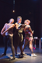 "© Licensed to London News Pictures. 13/04/2014. London, England. Pictured: Dancers Andrea Queens, Natalie Baylie and Cindly Claes perform ""Is My Whining Winding You Up?"" After two highly successful seasons, Wild Card returns for a third series. This Sadler's Wells initiative gives emerging artists the opportunity to present several works of their choice in a mixed bill. Running at the Lilian Baylis Studio on 13th and 14th February. Photo credit: Bettina Strenske/LNP"