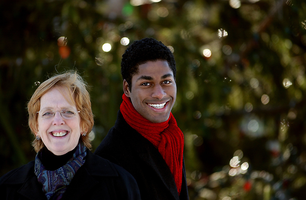 Arts12/6/05 Nativity<br /> ML0226E<br /> Sarah Peterson, director, and Kenyon Adams tenor with Long Wharf Theater's production of &quot;Black Nativity&quot;. Photographed on the New Haven Green. Photo by Mara Lavitt