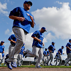 Feb 23, 2013; Lakeland, FL, USA; Toronto Blue Jays players workout prior to a spring training game against the Detroit Tigers at Joker Marchant Stadium. Mandatory Credit: Derick E. Hingle-USA TODAY Sports